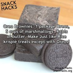 Snack Hacks The best Recipe Hack ever Oreo treats , as easy as a Rice Crispy Treat but more delicious ( ok that's subjective but YUM! Sweet Recipes, Snack Recipes, Dessert Recipes, Pudding Desserts, Cooking Recipes, Snacks, Cheesecake Desserts, Raspberry Cheesecake, Cake Recipes