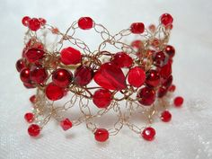Red Heart Bead Bracelet,  handmade beaded wire crochet jewelry, red beadwork bracelet. $20.00, via Etsy.