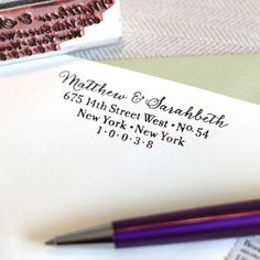 Calligraphy Return Address Stamp – The Chatty Press