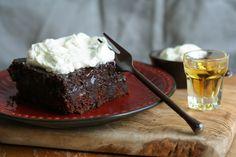 Chocolate Poke Cake with Bourbon Whipped Cream