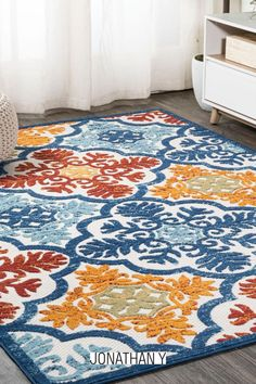 Whether you live in a tropical beach retreat or just love jungalow style, the allover palm frond pattern of this rug brings the jungle home. Overlapping palm tree branches create a rich pattern of navy, aqua and khaki tones. The pet-friendly and kid-proof flatweave design makes it easy to clean.Item Specification Farmhouse Style Rugs, Nautical Interior, Home Rugs, Coastal Style, Home Decor Trends, Interior Decorating, Interior Design, Outdoor Rugs, Blue Grey
