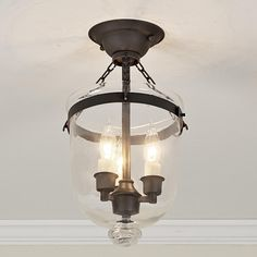 Mini Smokebell Semi-Flush Ceiling Lantern (Blackened Bronze Finish)