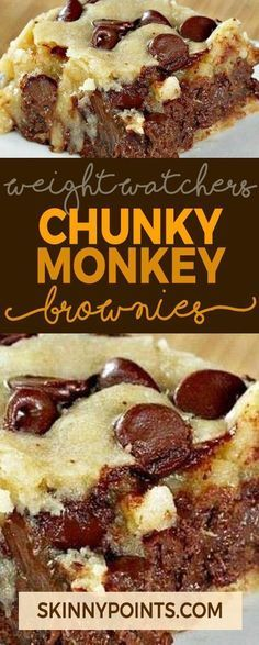 Chunky Monkey Brownies – Weight watchers Freestyle Smart Points Friendly Source by Ww Desserts, Weight Watchers Desserts, Healthy Desserts, Delicious Desserts, Dessert Recipes, Weight Watchers Brownies, Weight Watchers Cupcakes, Weight Watchers Pie, Weight Watcher Smart Point Meals