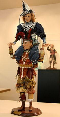 """Balancing Act - Artist: Jack Johnston The Balancing act was done to help laugh while suffering through the 2008 recession. Jack said, """"I should have made it with ten dolls"""". Porcelain Dolls Value, Porcelain Tiles, Painted Porcelain, China Porcelain, Jester Costume, Send In The Clowns, Polymer Clay Dolls, Doll Maker, Soft Dolls"""
