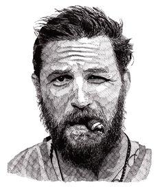 Drawing of Tom Hardy by Rik Reimert