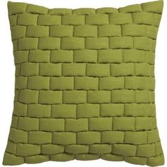 "CB2 Mason Quilted Moss Green 18"" Pillow With Feather-Down Insert"