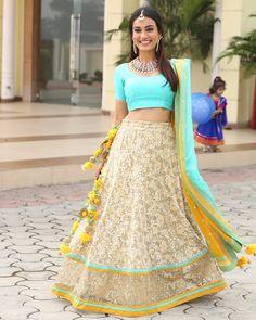 Surbhi Jyoti looks amazingly beautiful in this lehenga Lehenga Choli, Anarkali, Sarees, Lehenga Blouse, Indian Dresses, Indian Outfits, Indian Clothes, Tashan E Ishq, Wedding Saree Blouse