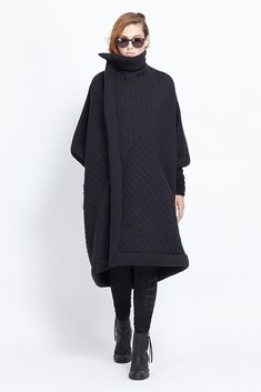 Rick Owens Lilies Quilted Sail Coat (Black Quilt)
