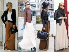 maxi skirts with leather jackets,How to wear fall hottest trends http://www.justtrendygirls.com/how-to-wear-fall-hottest-trends/