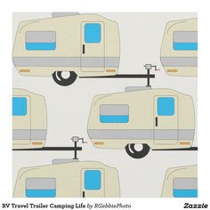 RV Travel Trailer Camping Life Fabric Can't find it? Make it! Everywhere I go is Home! RV Life, when you'd Rather be Camping. Cute illustrated pull behind RV travel trailer. Small camper style recreational vehicle, great for vacations, staycations, and other fun weekend trips. Cute design for Full-Timers, we're always camping! Visit our store for more Camping designs!