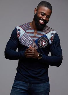 Our Lanre African print Men's long sleeve blue shirt in our blue crown print applique is perfect for cooler weather! Shop our Men's African clothing and find your new favorite African print shirt. African Shirts For Men, African Dresses Men, African Attire For Men, African Clothing For Men, African Wear, African Tops, Nigerian Men Fashion, African Print Fashion, Africa Fashion