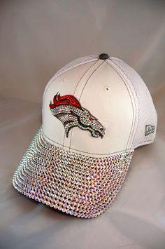 Custom Denver Broncos hat with Swarovski Crystals! Denver Broncos Gear, Denver Broncos Womens, Denver Football, Football Love, Football Baby, Football Season, Bronco Football, Baseball