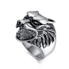 Barato Moda lobo anéis homens anel de aço inoxidável punk fresco jóias de alta qualidade, Compro Qualidade Anéis diretamente de fornecedores da China: