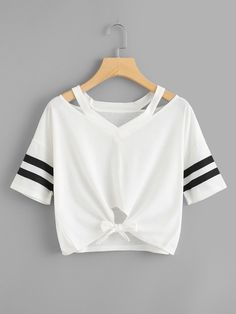 Shop Cut Out Neck Varsity Striped Knot Front Tee online. SHEIN offers Cut Out Neck Varsity Striped Knot Front Tee & more to fit your fashionable needs. Teen Fashion Outfits, Girl Fashion, Girl Outfits, Summer Outfits, Ladies Fashion Tops, Ootd Fashion, T Shirt Fashion, Ladies Tops, Casual Tops For Women
