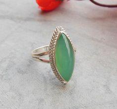 Sea foam green ring  Chalcedony ring jewelry  Bezel by Studio1980, $95.00