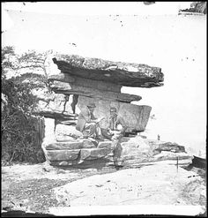 Soldier and companion at Umbrella Rock on Lookout Mountain, Chattanooga, Tennessee.     Lookout Mountain was stormed by General Hooker (U) on November 24, 1863