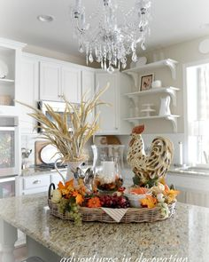 25 Awesome Fall Kitchen Design For Home Decor Ideas. If you are looking for Fall Kitchen Design For Home Decor Ideas, You come to the right place. Below are the Fall Kitchen Design For Home Decor Ide. Kitchen Island Centerpiece, Kitchen Island Decor, Kitchen Ideas, Fall Kitchen Decor, Kitchen Design, Diy Kitchen, Tuscan Kitchen Decor, Kitchen Vignettes, Fall Vignettes