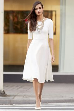 Modest Ivory Midi Dress
