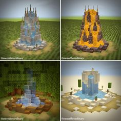 Minecraft Cottage, Cute Minecraft Houses, Minecraft Castle, Minecraft House Designs, Amazing Minecraft, Minecraft Crafts, Minecraft Stuff, Minecraft Fountain, Minecraft Statues