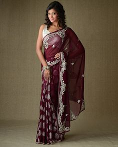 Burgundy Sari with Jacquard Design