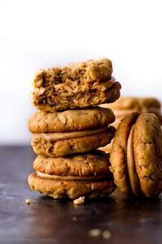 These peanut butter cookie sandwiches taste exactly like Nutter Butters!! Recipe on sallysbakingaddiction.com