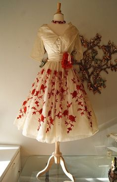 great 1950's dress...silk embroidered organza by Rappi. by tracey