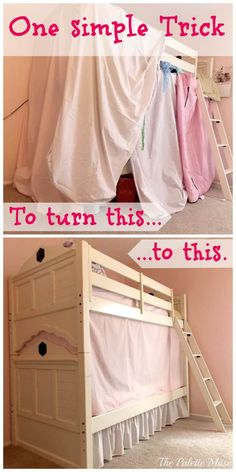 Sew Curtains The no-sew secret to building the perfect bunk bed tent! - Try this no-sew easy bunk bed tent trick next time your little one wants to use all your sheets and blankets to build a fort out of their bed. Girls Bunk Beds, Bed For Girls Room, Cool Bunk Beds, Bunk Beds With Stairs, Kid Beds, Girl Rooms, Bed Rooms, Boys Bunk Bed Room Ideas, Bed Stairs