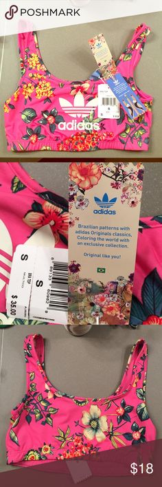 "Adidas Sports Bra NWT. Super fun adidas sports bra! ""Brazilian patterns"" adidas exclusive collection. Size small. Purchased wrong size. Adidas Intimates & Sleepwear Bras"