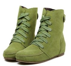 my style Comfortable Colorful Lace-up Flat Ankle Boots