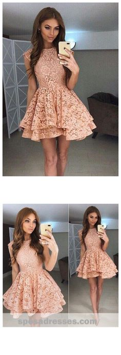 High Neck Peach Lace Cute Short Homecoming Dresses 2018, CM559 #homecoming #homecomingdresses