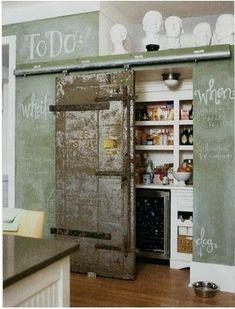 Chalkboard in Kitchen: Clever pantry barn door.