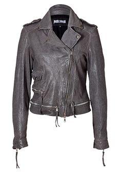 Gorgeous grey leather jacket.