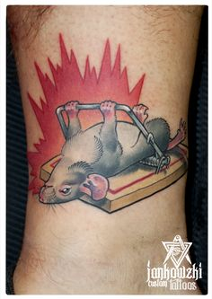 traditional tattoo of a badass mouse