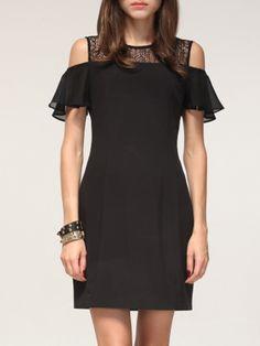 #AdoreWe #StyleWe Dresses - AISON Black Ruffled Short Sleeve Sheath Mini Dress - AdoreWe.net