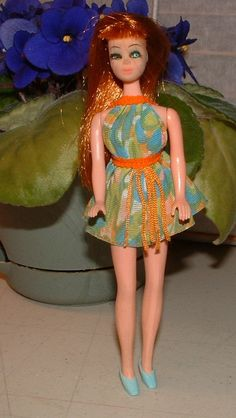 1970 Dawn Doll Clothes - Original DANCING DAWN Swirl with Orange Mini - Version 1028