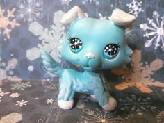 Collie Dog Winter Snow Sparkle * OOAK Hand Painted  Custom Littlest Pet Shop #Hasbro