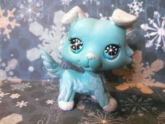 Collie Dog Winter Snow Sparkle * OOAK Hand Painted  Custom Littlest Pet Shop #Hasbro