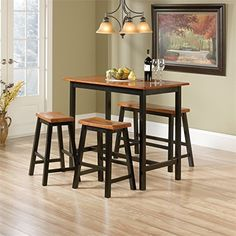 The Sauder Edge Water 4 Piece Counter Height Dinette Set has everything you need to upgrade your eating area. This solid wood constructed set includes a counter height table, two counter height stools, and one counter height bench. Kitchen Dining Sets, Dining Room Sets, Dining Room Table, Table And Chairs, A Table, Kitchen Tables, Wood Table, High Top Table Kitchen, Bag Chairs