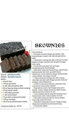 Brownie Recipes, Cookie Recipes, Snack Recipes, Dessert Recipes, Brownies Kukus, Resepi Brownies, Simply Recipes, Sweet Recipes, Delish Cakes