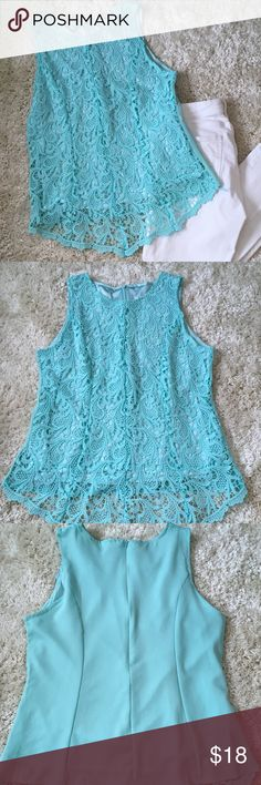 Lace front tank top, new never worn. Lace front tank top.  A beautiful aqua color New, never worn, tags removed  Size says XL but it wears like a medium Lace in front, plain in back Zipper back Perfect with white jeans or capris for a night out in the summer.   Check out the blue one I also have and bundle for a savings.   Thanks for stopping by my closet Tops Blouses