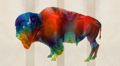 """Wild Bill"" New Art Work Animal Print Sharon Cummings Mixed Media Buffalo 2014"