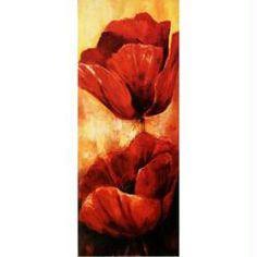 Image 3D Fleur - Coquelicot rouge à droite 20 x 50 cm