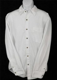 TERRITORY AHEAD White Long Sleeve Button Front Career Dress Shirt  Mens LARGE