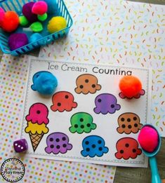 Roll and Cover Ice Cream Counting for Preschool#preschool #planningplaytime #preschoolmath Numbers Preschool, Preschool Lesson Plans, Preschool Worksheets, Kindergarten Math, Preschool Activities, Teacher Games, Teacher Boards, Back To School Worksheets, Teaching Tools