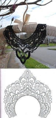This Pin was discovered by Роз Filet Crochet, Col Crochet, Crochet Lace Collar, Crochet Diy, Crochet Motifs, Crochet Stitches Patterns, Crochet Diagram, Thread Crochet, Irish Crochet
