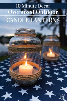 Make your own oversize Glass candle lanterns using large pickle jars. Make your own oversize Glass candle lanterns using large pickle jars. Outdoor Candle Lanterns, Outdoor Candle Holders, Jar Lanterns, Diy Candle Holders, Diy Candles, Candles In Jars, Diy Candle Lantern, Reuse Candle Jars, Candle Decorations