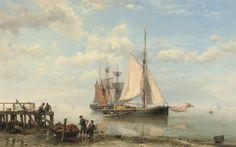 Hermanus Koekkoek - Zeilschepen voor de kust op een rustige zee