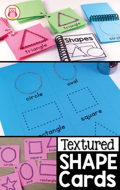 Printable shape cards and instructions on how to add add some texture to the shape cards. Kids will be able to trace the textured shapes with their fingers to get some sensory input as they learn each shape. You can make shape rings, books, and even sha Early Math, Early Learning, Kids Learning, Preschool Curriculum, Preschool Math, Preschool Shapes, Preschool Ideas, Homeschooling, Sensory Activities