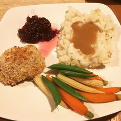 Panko breaded turkey with mashed potatoes and healthy vegetables.