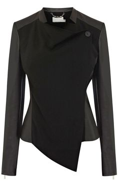 Black Contrast Leather Long Sleeve Crop Jacket